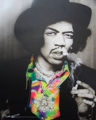 Jimi Hendrix - ' Jam Back At The House ' Poster by Christian Chapman Art