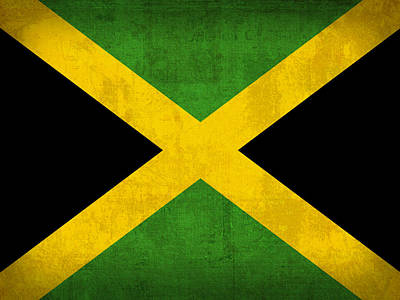 Jamaica Flag Vintage Distressed Finish Poster