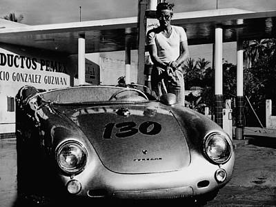 James Dean Filling His Spyder With Gas In Black And White Poster