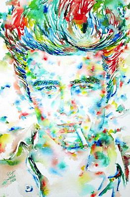 James Dean Smoking Cigarette - Watercolor Portarit Poster