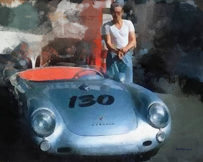 James Dean With His Spyder Poster