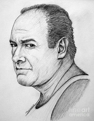 Poster featuring the drawing James Gandolfini by Patrice Torrillo