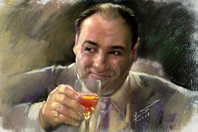 Poster featuring the drawing James Gandolfini by Viola El
