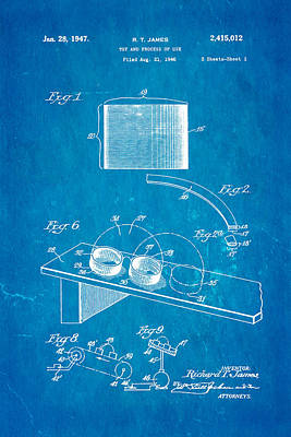 James Slinky Toy Patent Art 1947 Blueprint Poster by Ian Monk