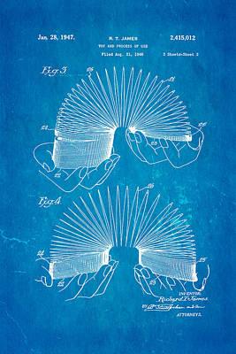 James Slinky Toy Patent Art 2 1947 Blueprint Poster by Ian Monk