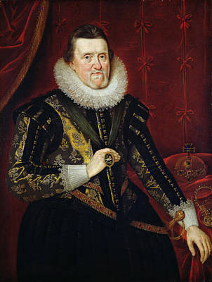 James Vi Of Scotland And I Of England And Ireland  1566-1625 Oil On Canvas Poster by Adam de Colone