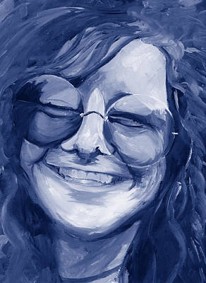 Poster featuring the painting Janis Joplin Blue by Michele Engling