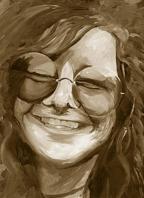 Janis Joplin Gold Poster by Michele Engling