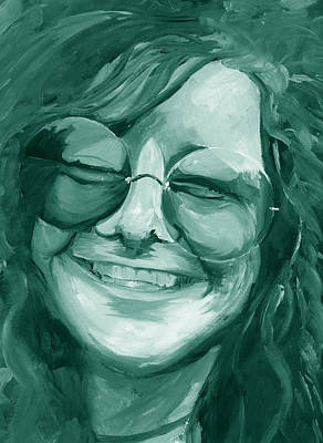 Poster featuring the painting Janis Joplin Green by Michele Engling