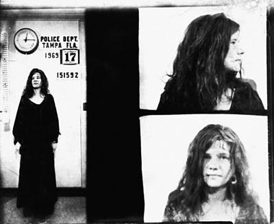 Janis Joplin Mugshot In Black And White Poster