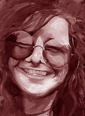 Janis Joplin Red Poster by Michele Engling
