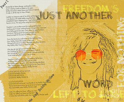 Janis Joplin Song Lyrics Bobby Mcgee Poster by Nola Lee Kelsey