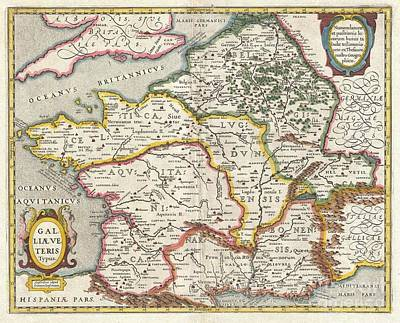 Jansson Map Of France Or Gaul In Antiquity Poster by Paul Fearn