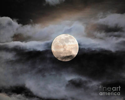 January Full Moon With Clouds Poster
