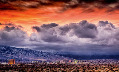 January Sunset Over Reno Poster