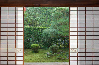 Japan, Kyoto, Sesshuji, Temple Window Poster by Rob Tilley