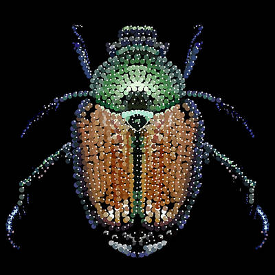 Japanese Beetle Bedazzled Poster