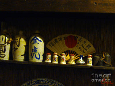 Japanese Ceramic Sake Bottles With Fan And Bells Poster by Feile Case