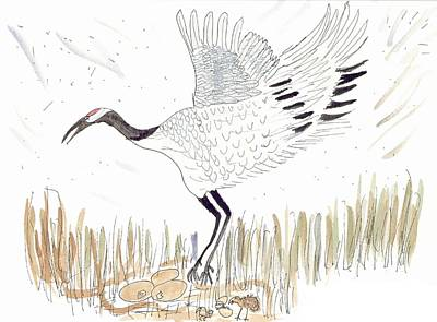 Poster featuring the painting Japanese Crane And Her Nest by Helen Holden-Gladsky