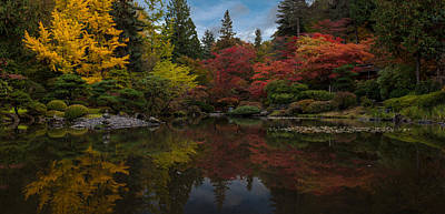 Japanese Garden Reflection Poster by Mike Reid