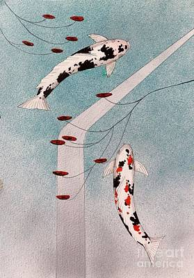 Japanese Koi And Silver Waterfall Painting Poster