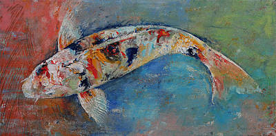 Japanese Koi Poster by Michael Creese