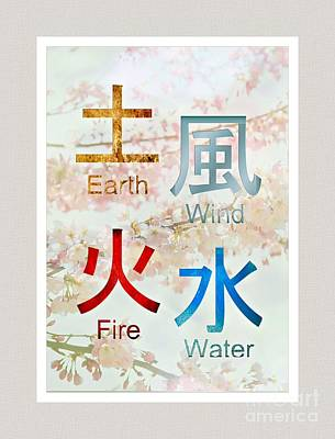Japanese Symbols   Earth Wind  Fire Water Poster