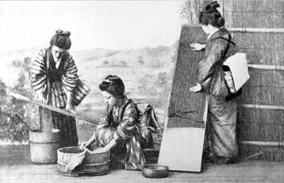 Japanese Women Doing Laundry Poster
