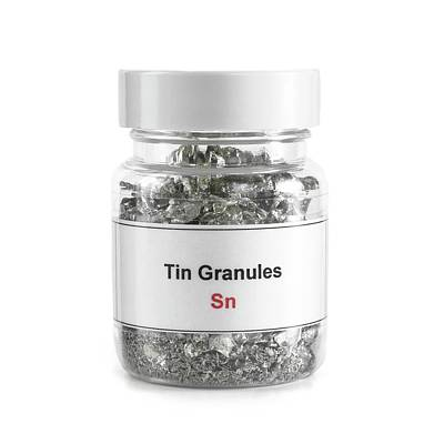 Jar Containing Tin Granules Poster by Science Photo Library