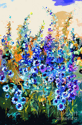Jardin Bleu Delphiniums Poster