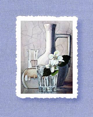 Jasmine Flowers Bouquet On Blue Canvas Poster by Irina Sztukowski