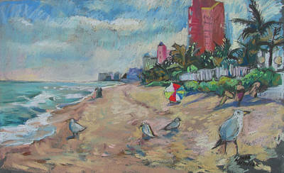 Jaunty Beach Birds Poster by Linda Novick