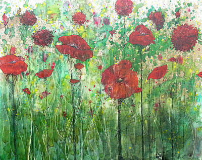 Poster featuring the painting Java Poppy Field by Christy  Freeman