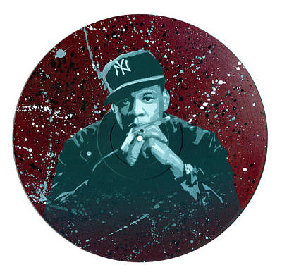 Jay-z Stencil Art On An Upcycled Vinyl Record Poster by Tim Kravel