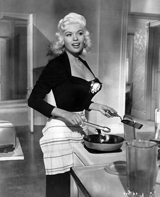Jayne Mansfield Showing Off Cooking Skill Poster