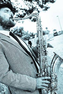 Jazz Musician Busker Playing Saxophone Poster