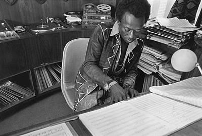 Jazz Musician Miles Davis Composing Poster by Mark Patiky