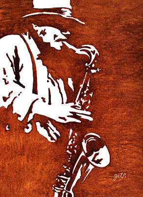 Jazz Saxofon Player Coffee Painting Poster