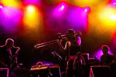 Jazz Trio - A Jam Session In Purple And Yellow Poster by Georgia Mizuleva