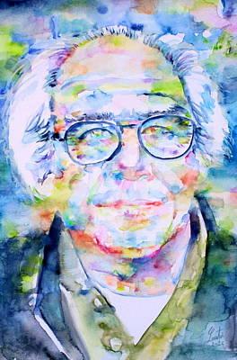 Jean Baudrillard - Watercolor Portrait Poster