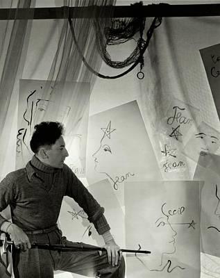 Jean Cocteau With A Cane And Drawings Poster