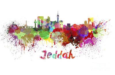 Jeddah Skyline In Watercolor Poster