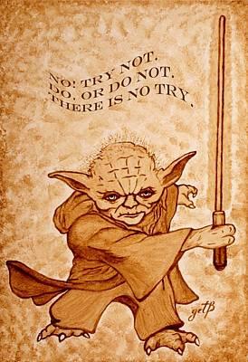 Poster featuring the painting Jedi Yoda Wisdom by Georgeta  Blanaru