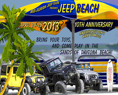 Poster featuring the photograph Jeep Beach 2013 Welcomes All Jeepers by DigiArt Diaries by Vicky B Fuller