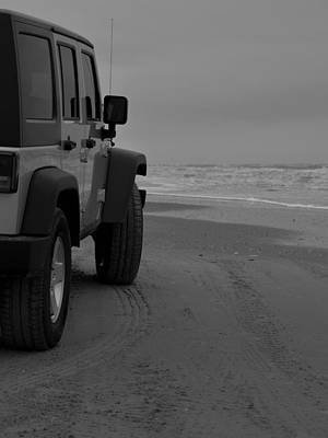 Jeep On The Beach Poster by Richard Booth