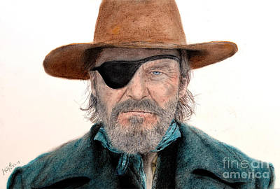 Jeff Bridges As U.s. Marshal Rooster Cogburn In True Grit  Poster by Jim Fitzpatrick