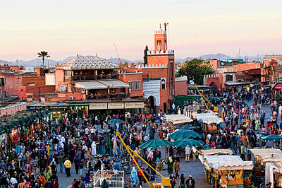 Jemaa El Fna Square At Dusk In Marrakesh Morroco Poster by David Smith