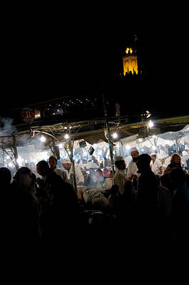 Jemaa El Fna Square In Marrakesh At Nightorroco Poster by David Smith