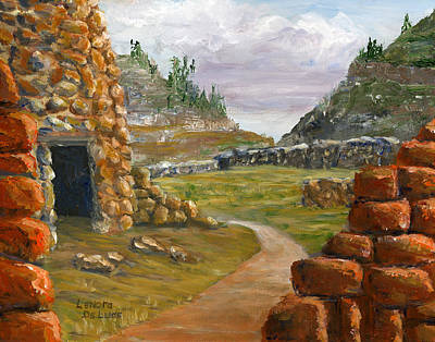Poster featuring the painting Jemez Inspired Pathway Landscape by Lenora  De Lude