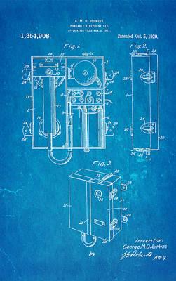 Jenkins Portable Telephone Patent Art 1920 Blueprint Poster by Ian Monk